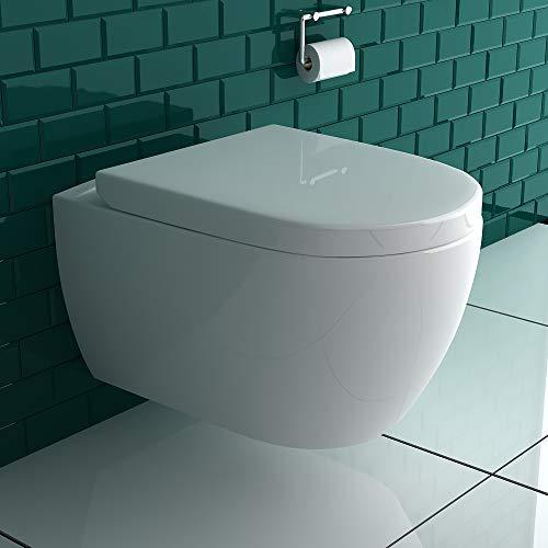 Alpenberger Hänge-Dusch-WC integrierter Bidet-Taharet Funktion mit verstellbarer Edelstahlkopfdüse + Abnehmbarer D-Form WC-Sitz inkl. Soft-Close-Funktion   Ästetisches Design   2 in 1 Bidet und WC
