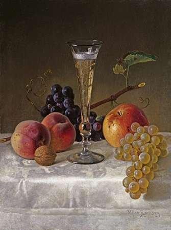 Fine Art Print–Stillleben mit Glas Champagner von Bentley Global Arts Gruppe, 14 x 19