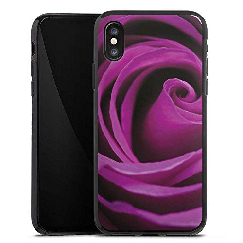 Apple iPhone X Silikon Hülle Case Schutzhülle Lila Rose Blüte Silikon Case schwarz