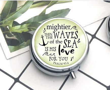 anhänger Mightier Than The Waves christlich inspirierte Bibelzitat God's Love Verse Damen Schmuck Geschenk Pillendose Pillendose Literary Jewelry ()