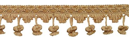 DecoPro 4,5Meter-Packung mit, Gold, 5cm, Imperial II Zwiebel Tassel Fringe Stil # nt2503schwarz-gold-LTG (15m) -