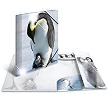 HERMA Elastic Folder Animals with Penguins Motif, A4, Glossy Plastic, with Inner Print, 1 Span Folder