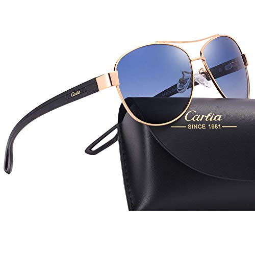 Carfia UV400 Schutz Polarisierte Damen Herren Sonnenbrille Pilot Brille für Fahren, Freizeit und Reise (Damen/Rahmen: Gold; Linsen: Dunkelblau)