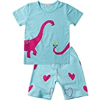 Little Hand Girls Pyjamas Set Unicorn Print Girls Pjs Short Sleeve Cotton Sleepwear Tops Shirts & Pants for Age 1-7 Years