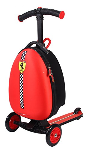 Ferrari® 2 in 1 Kinderkoffer + Scooter Reisegepäck Trolley Rot Reisekoffer Kinderreisetrolley