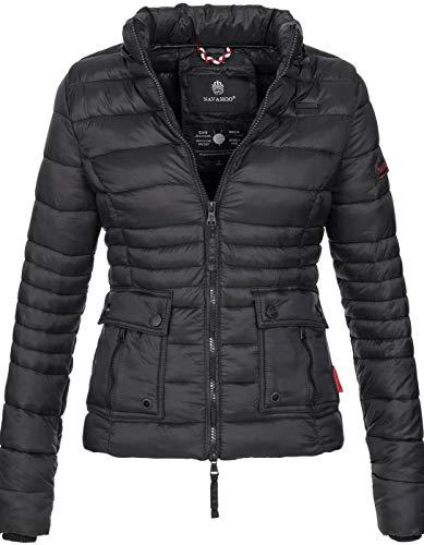 Navahoo Damen Jacke Steppjacke Übergangsjacke mit Kapuze gesteppt [B602-Schwarz-Gr.XL] (Gesteppte Jacke Frauen Schwarz)