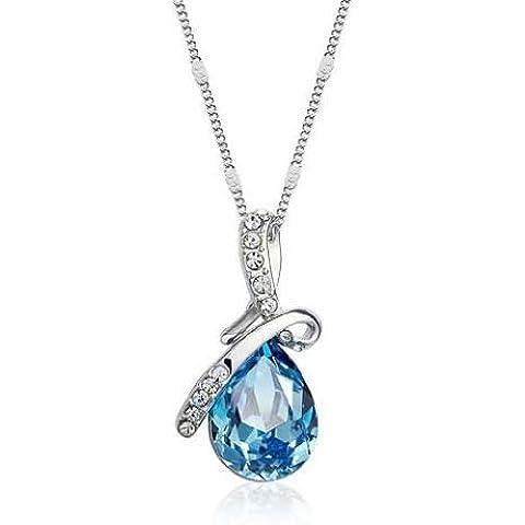 Andonger Oro bianco 18K ha placcato Teardrop del pendente della collana di cristallo blu