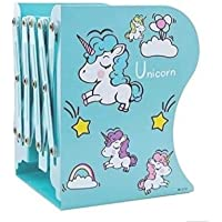 MADHAV Unicorn Themed Retractable Foldable Metal Book Shelf | Holder | Bookend | Stand | Rack for Kids and Students…
