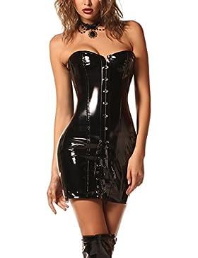 WONDER BEAUTY Mujer Sexy Cuero Steampunk Vestido de Corsé Erotico Lenceria Bustier Top