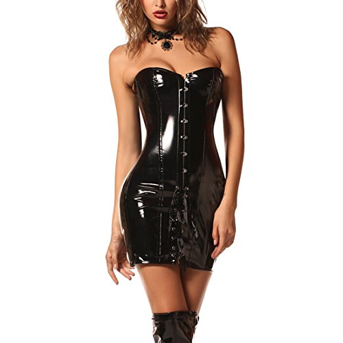 Korsett Kleid Steampunk Sexy Gothic Wetlook PVC Leder Latex Stahl Ohne Knochen Korsett Fancy Dress (Burlesque Korsett Kleid)