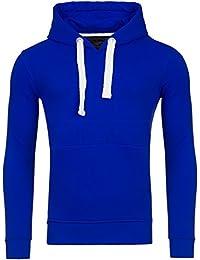 Young & Rich Hoodie Herren Basic Sweater Sweatshirt Uni Hoody Kapuzenpullover Pullover mit Kapuze in der Farbe Blau M