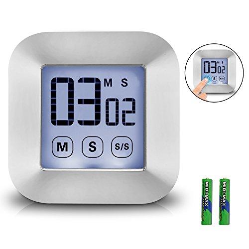 XREXS Touchscreen Digitaler Küchentimer Magnetisch Stoppuhr LCD Display Elektronische Timer Eieruhr mit Stand, lauter Wecker, Kochen Timer für Studium/Workout / Cook (Batterien Inklusive)