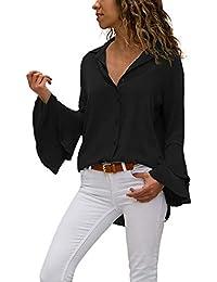 3525039cb8 Mujer Blusas Casual Sólido Gasa Camisa Manga Larga de Solapa