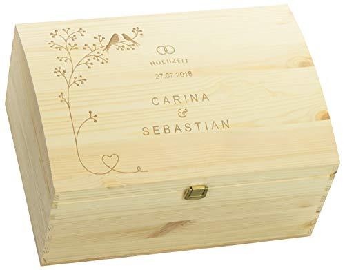 LAUBLUST Holztruhe zur Hochzeit - Vogel-Pärchen - Geschenkkiste Personalisiert mit Gravur - 35x25x19cm, Natur, FSC® - Wünsche Karte Box Hochzeit