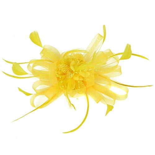 UJUNAOR Damen Flapper Stirnband Feder-Stirnband Headband 20 Jahre Haar-Zusätze(Gelb,One size)