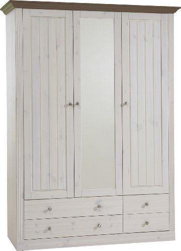 Steens Monaco Kleiderschrank, 3 Türen und 3 Schubladen, 145 x 201 x 60 cm (B/H/T), Kiefer massiv,...