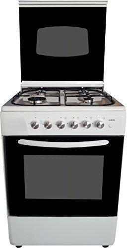 LAREL Cucina Bianca 60x60 4 fuochi con Forno a Gas metano o GPL, Grill Elettrico e Coperchio in Vetro