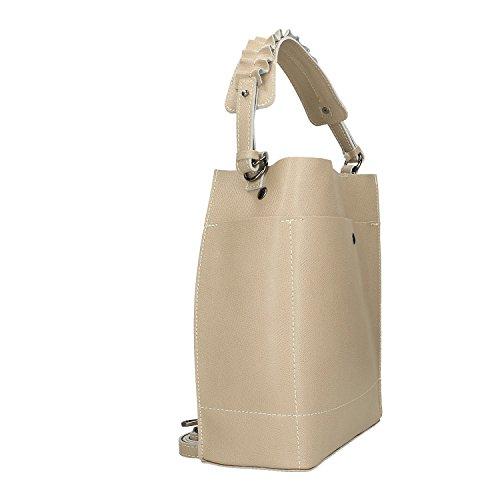 Chicca Borse Handbag Borsa a Mano in Vera Pelle Made in italy - 24x28x12 Cm Taupe Comprar Nuevos Estilos Baratas Gran Descuento Línea Oficial Para Barato Tienda De Espacio Libre Barato Gy1BplB4C