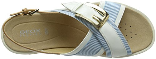 Geox Koleos F, Sandales Bout Ouvert Femme Blanc (Petrol/white)