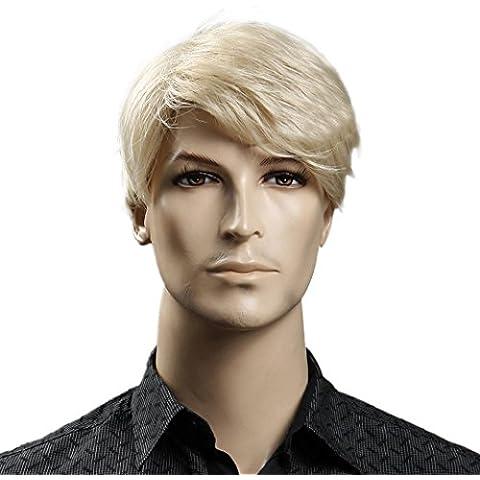 Tangda qualità Parrucca corta, da uomo, colore: castano Burn dorato,