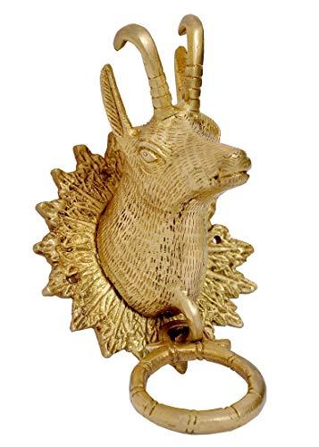 SKEYAA Brass Deer Mask Door Knocker (Bell) Pull Ring Handle, Decorative Antique Piece. Weight 0.95 Kgs Brand Name