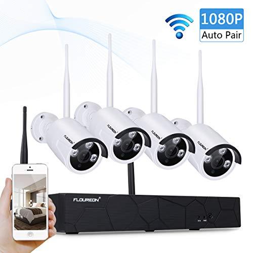 Sistema de Cámara de Seguridad, FLOUREON 4CH 1080P NVR Inalámbrica Kit de Vigilancia CCTV Con 2.0MP IR-CUT Apoyo P2P Acceso Remoto Móvil HD Imagen Detección de Movimiento sin HDD 4 1080P Cámaras