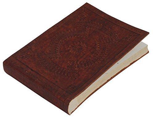 SouvNear Genuine hecho a mano diario de piel portátil/personal en canela marrón...