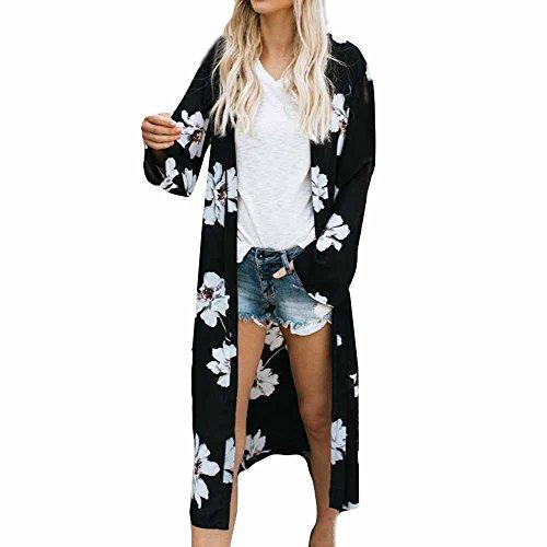 Lange Damen-kittel (Dream Room Damen Chiffon Kimono Cardigan Elegante Leichte Lange Sonnencreme Kleidung Strand Bikini Cover Up Blumen Druck Casual Strand Kittel (M, Schwarz))