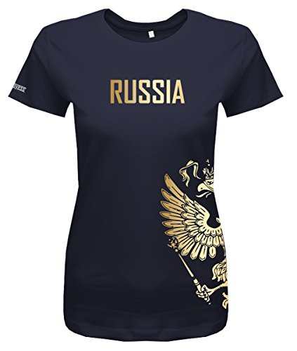 Jayess WM 2018 - Russland - Russia - Adler Gold - Fanshirt - Damen T-Shirt in Navy by Gr. M