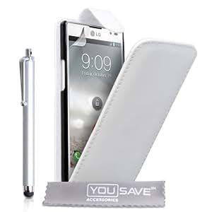 LG Optimus L9 Zubehör Tasche LG Optimus L9 Weiß PU Leder Flip Hülle Mit Griffel Stift