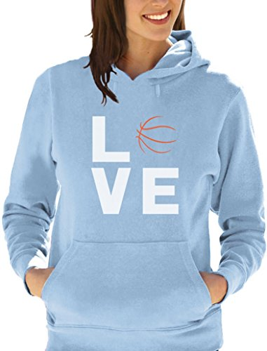 fan Basketball accesoire -Love Basket Sweatshirt Capuche Femme Bleu ciel