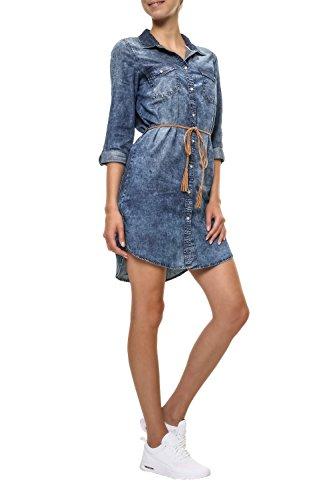 Only Damen Jeanskleid Hemdblusenkleid (M, Light Blue Denim)