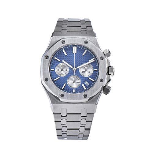 PARNIS 9086 sportlich-eleganter Herrenuhr Chronograph 5BAR Wasserdicht 41mm Herrenuhr Saphirglas massives Armband mit Butterfly-Schließe MIYOTA Markenuhrwerk