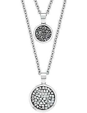 s.Oliver Damen-Kette mit Anhänger 50+3 cm Swarovski Kristalle Edelstahl Kristall silber 53 cm 2015162