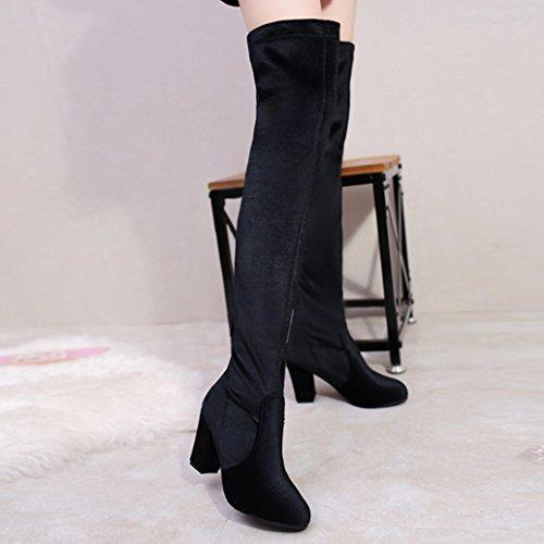 Coloré Femme Boots Chaussures Classiques Chaudes Botte (TM) Velours à talons hauts avec des bottes hautes Noir