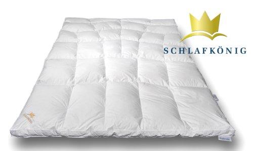 Daunendecke EXTRA WARM 155x220 - Hochwertige Winter Daunendecke SCHLAFKÖNIG ®, die sich Ihnen anpasst! 1A Daunen und -Federn Qualität Klasse 1 - Made in Germany - Winter Daunenbett (155x220)