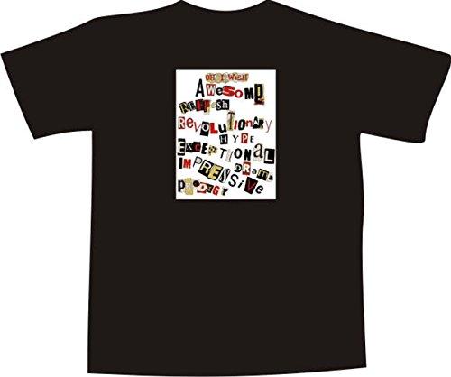 T-Shirt F1171 Schönes T-Shirt mit farbigem Brustaufdruck - Art der Wörter Schwarz