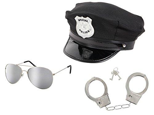 Alsino Set di Travestimento da Poliziotto 3 pezzi: Cappello Nero, Occhiali da sole, Manette per Costume Carnevale Halloween Serata Festa a Tema Uomo Donna Adulti Ragazzi