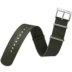 Bracelet de Montre ZULUDIVER® en Caoutchouc Italien de Qualité, Militaire G10 NATO, Plongée, Sport et Loisir, Vert Foncé, 22mm