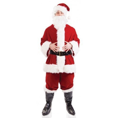 Herren 7Pc Plüsch Deluxe Father Christmas Santa Claus Anzug Kostüm Outfit mit Perücke & Bart M-XL - Rot, - Anzüge Deluxe Santa