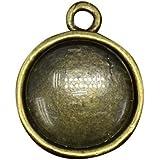 Pandahall,10 Series 12 mm cupula cabujones de vidrio transparente y ajustes colgante cabujon estilo tibetano bronce antiguo, sin plomo y sin niquel, colgante: 18x14 mm, agujero: 2 mm, Bandeja: 12 mm