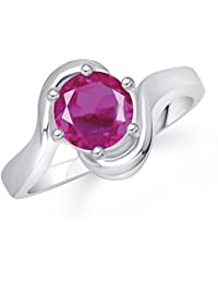 Meenaz Ruby Ring South Indian Traditional Silver Ring For Girls & Women In American Diamond Cubic Zirconia Ring...