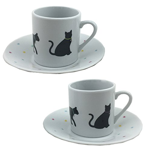 Espresso Tasse & Untertasse 2er Set I Love My Cat