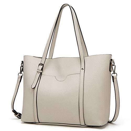 Große Shopper Handtasche (LINGTEU Handtasche Damen Shopper Groß Tasche Leder Schultertasche Henkeltaschen Umhängetasche für Büro Schule Einkauf Reise, Beige)