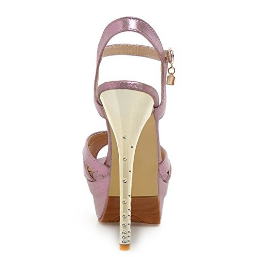 TAOFFEN Damen Fashion Plateau Peep-Toe Stiletto Sandalen Ankle Strap Wedding Schuhe Pink