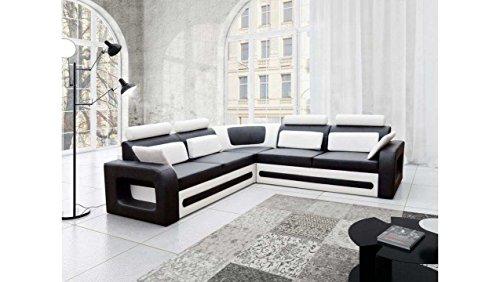 JUSTyou Bergamo Canapé d'angle Sofa canapé lit Simili Cuir (HxLxl): 82x290x270 cm Blanc Noir Angle Gauche