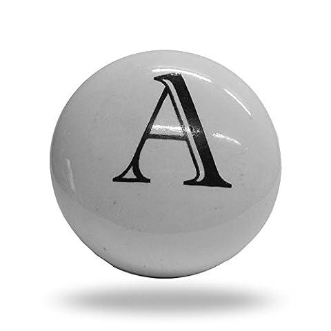 Ceramic Letter A Cupboard Cabinet Alphabet Door knob Drawer Pull & Handle