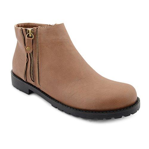 Damen Flacher Absatz Ziehen Auf Stretch Chelsea Knöchel Reitstiefel Schuhe Größe UK Tan Zip