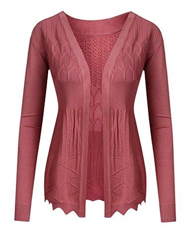 cooshional Damen Strickjacke Kurz Feinstrick Cardigan Jacke Blazer     XL/EU(42),    Wassermelone-Rot (3-knopf-blazer-jacke)