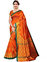 ANNI DESIGNER silk with blouse piece Saree (HANSA-ORANGE Free Size)